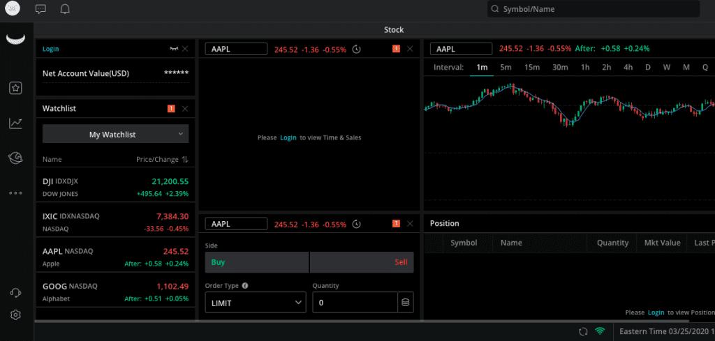 Webull Dashboard Stock View